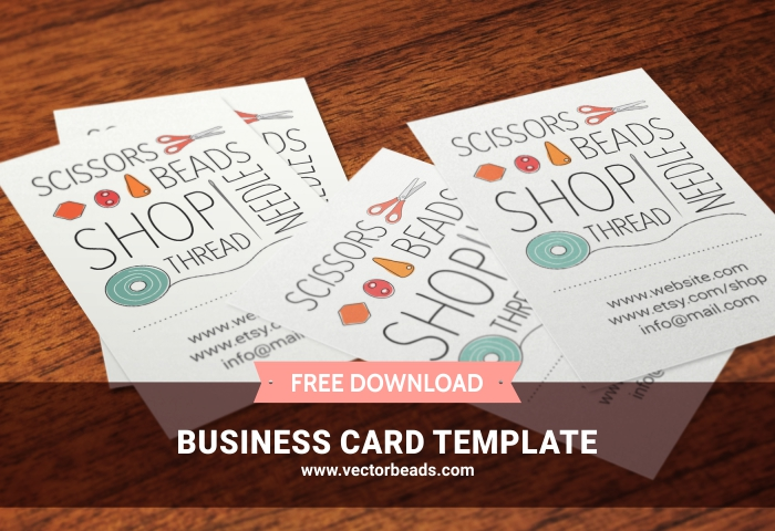 Free business card template for bead shops